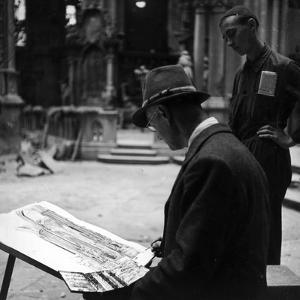 Portrait of a Watercolor While He's Painting an Architecture from Nature by Luigi Leoni