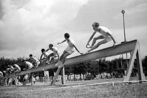 Sporting Event Coni: Gymnastics Display of Young Athletes Fascists by Luigi Leoni