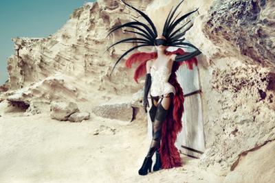 Female Model Wearing Feathers
