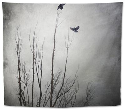 Two Bird Flying Near a Tree