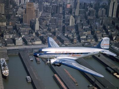 A United Airlines Mainliner Flies Through the Air