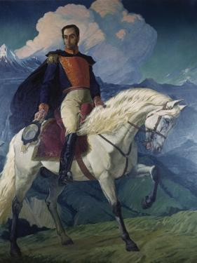 Painting of Simon Bolivar Hangs in Miraflores Palace by Luis Marden