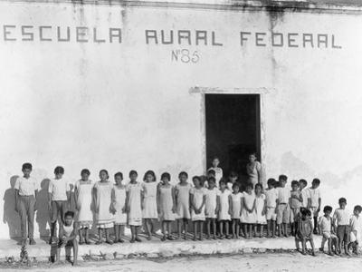 Yucatan Children Stand Outside a Federally Funded School in Piste