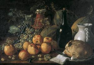 Still Life with a Bottle, Ceramics, Bread, Apples and Grapes by Luís Meléndez O Menéndez