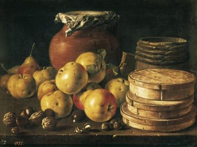 Still Life with Apples, Walnuts, Pot and Boxes of Sweetmeats by Luís Meléndez O Menéndez