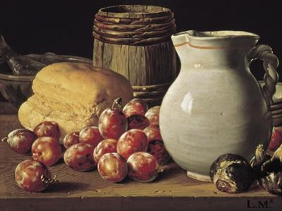 Still Life with Plums, Black Figs and Bread by Luís Meléndez O Menéndez