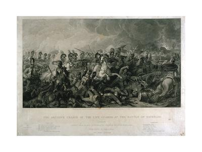 The Decisive Charge of the Life Guards at Waterloo in 1815, Engraved by William Bromley, 1821