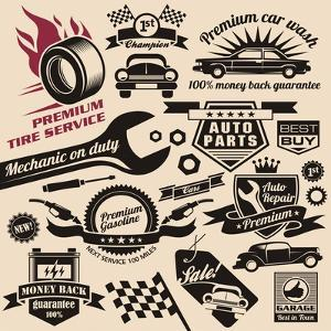 Vector Set of Vintage Car Symbols and Logos by Lukeruk