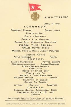 Lunch Menu on the Titanic