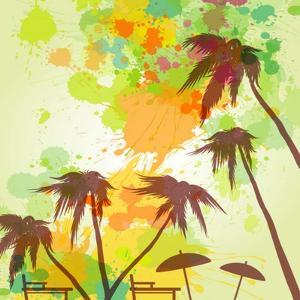 Sunny Beach Watercolor Vector Illustration by Lunetskaya