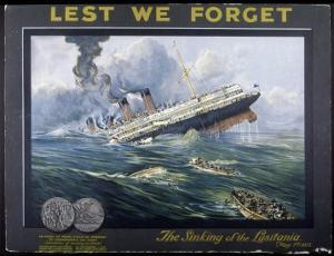 Lusitania Torpedoed by a German Submarine on Her Return Journey from New York to Liverpool