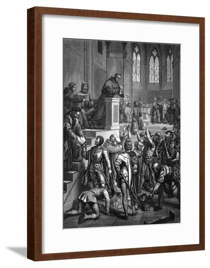 Luther Tears Papal Bull--Framed Giclee Print