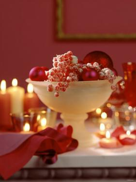 Glass Bowl of Berries & Xmas Baubles as Table Decoration by Luzia Ellert