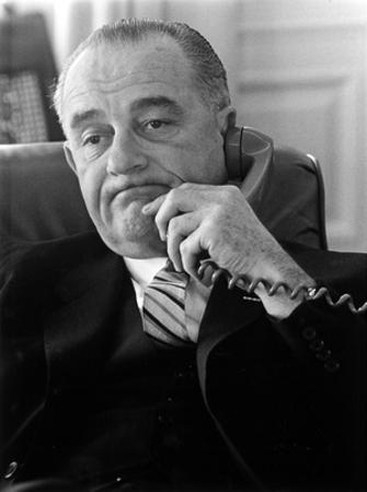 Lyndon B Johnson (On Phone) Art Poster Print