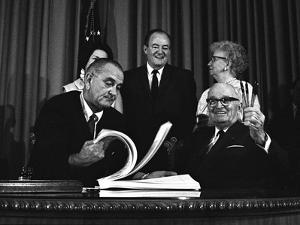 Lyndon Johnson Signing the Medicare Bill with Former President Truman, July 7,1965