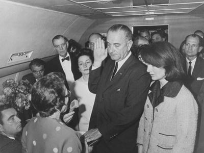Lyndon Johnson Taking the Presidential Oath of Office