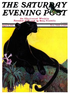 """""""Black Panther,"""" Saturday Evening Post Cover, August 13, 1932 by Lynn Bogue Hunt"""