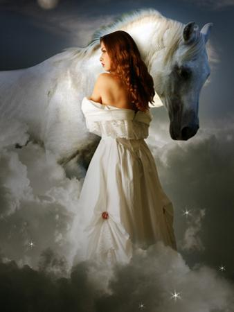 A Young Girl Wearing a White Dress Standing Beside a Horse under the Moonlight by Lynne Davies
