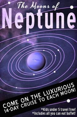 Neptune Retro Space Travel by Lynx Art Collection