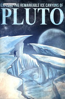 Pluto Retro Space Travel - Explore the Ice Canyons of Pluto by Lynx Art Collection