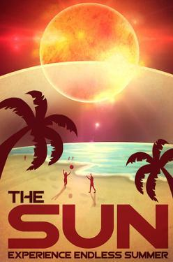 The Sun Retro Space Travel by Lynx Art Collection