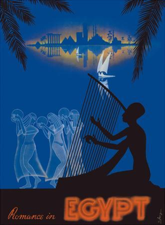 Romance in Egypt - Love on the Nile River - Ancient Egyptian Harp Player, Dancing Girls by M. Azmy