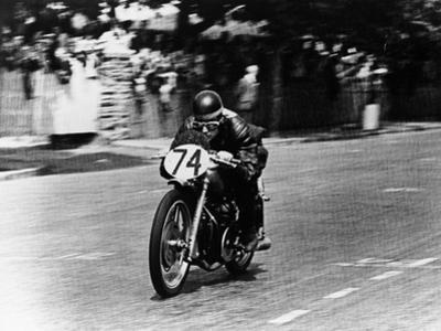 M Barrington on a Moto Guzzi Bike, Isle of Man Tt, 1949