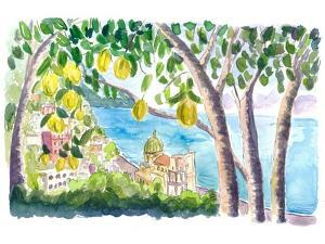 Amalfi Coast Seaview with Fresh Limes on Tree by M. Bleichner