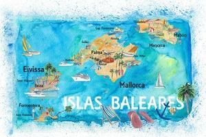 Balearic Islands Illustrated Travel Map with Majorca Ibiza Menorca Landmarks and Highlights by M. Bleichner