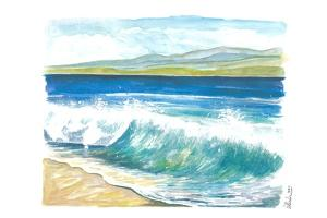 Beach Breaking Waves with Spray in the Bay by M. Bleichner