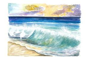 Breaking Eastern Caribbean Waves with Sunset on Antilles Island by M. Bleichner