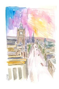 Edinburgh Princess Street at Sunset by M. Bleichner