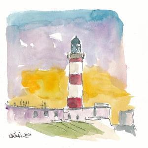 Eilean Glas Lighthouse at Sunset in Scotland by M. Bleichner