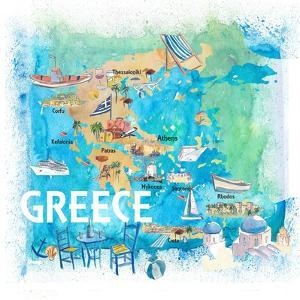 Greece Illustrated Travel Map with Landmarks and Highlights by M. Bleichner