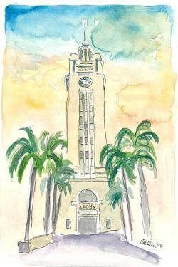 Hawaii - Aloha Tower Greetings and Palms by M. Bleichner
