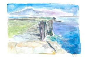 Inishmore Cliffs with Dun Aonghasa Fort Aran Islands Ireland by M. Bleichner