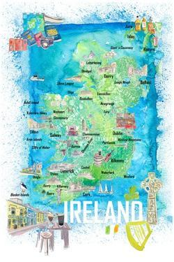 Ireland Illustrated Travel Map with Roads and Highlights by M. Bleichner
