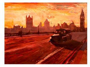 London Bus Dusk by M Bleichner