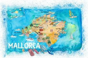 Mallorca Spain Illustrated Map with Landmarks and Highlights by M. Bleichner