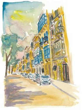 Malta Valletta Street Scene With Balcony by M. Bleichner