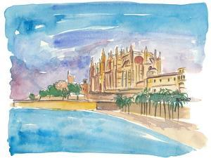 Palma Majorca Cathedral Waterfront at Sunset by M. Bleichner