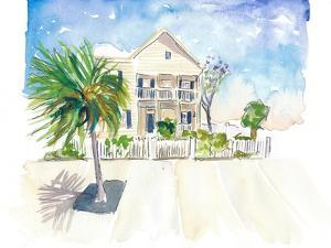 Pastel Colored Conch Houses on Whitehead Street Key West by M. Bleichner