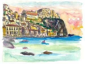 Procida Sunset With Rock Fortress And Sea by M. Bleichner