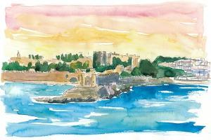 Rhodes Greece Waterfront with Grandmaster Palace by M. Bleichner