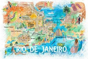 Rio de Janeiro Illustrated Map with Main Roads Landmarks and Highlights by M. Bleichner