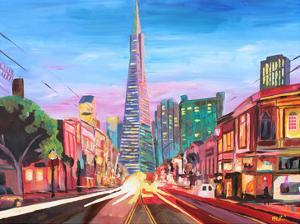 San Francisco Columbus St. With Cafe Vesuvio And Transamerica At Dawn 1 by M Bleichner