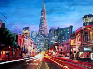 San Francisco Columbus St. With Cafe Vesuvio And Transamerica At Dawn by M Bleichner
