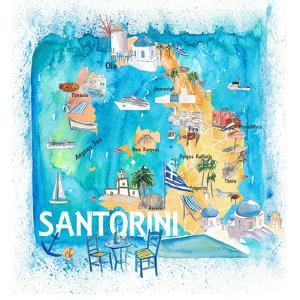 Santorini Greece Illustrated Map with Main Roads Landmarks and Highlights by M. Bleichner