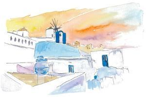 Santorini Scene with Blue And White by M. Bleichner