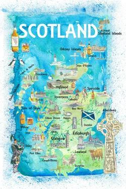 Scotland Illustrated Map with Landmarks and Highlights by M. Bleichner